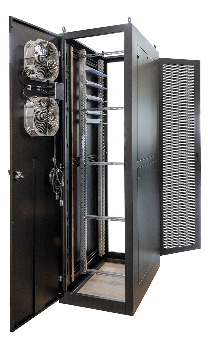 A custom built enclosure that has fans and rear ventilation